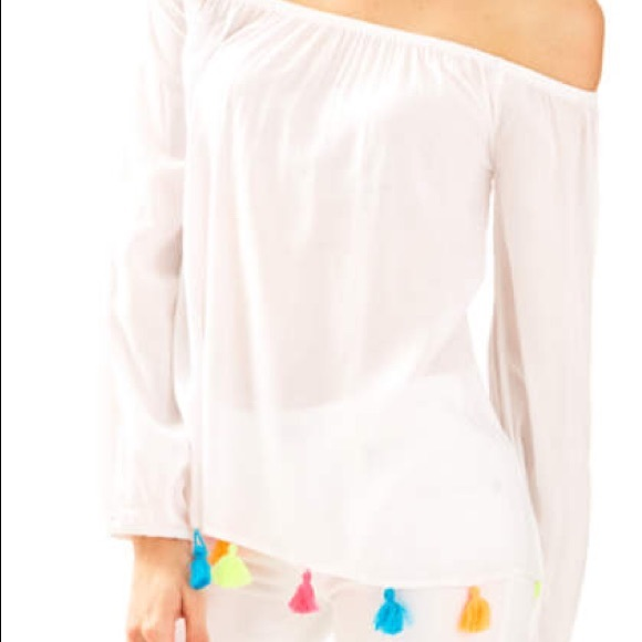 02f6780b6c87bf Lilly Pulitzer Tops - Lilly Pulitzer Enna Top w  Multi-Colored Tassels